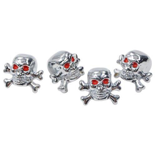 4 Stück Ventilkappen Silber Schädel mit Knochen Motorrad Auto Fahrrad   LKW PKW