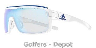 Adidas Brille ad01 ZONYK Pro L white shiny 6057 VARIO blue mirror