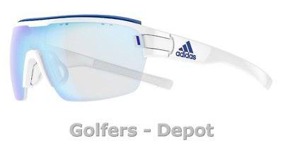 Adidas Brille ad05 ZONYK AERO Pro Large white shiny 1500 VARIO blue mirror