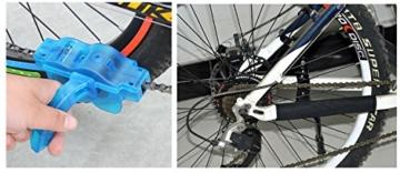 Fahrrad Kettenreinigungsgerät, FahrradKettenreiniger set mit Kettenreinigungsgerät + Kettenbürste + Ritzelbürste Bicycle Chain Cleaner für Motorrad-, Fahrrad- oder Rollerketten (Blau) -