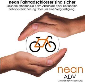 Fahrradschloss Kettenschloss nean 2 Schlüssel, textilummantelt, schwarz, 22 x 1000 mm -