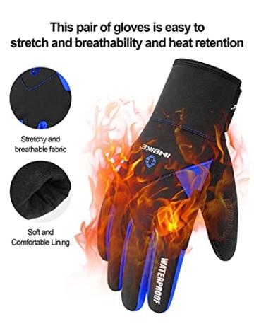 Inbike Fahrradhandschuhe Winter Thermo Gepolsterte Handfläche Radsport Gel Handschuhe Windddichte(Blau,L) -