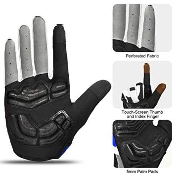 Inbike Herren Fahrradhandschuhe Mit Gel vollfinger MTB Handschuhe für das Radfahren(Blau-Lang,L) -