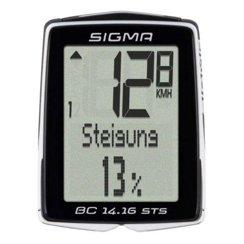 Sigma Fahrradcomputer Kilometerzähler kabellos digital BC 14.16 STS Schwarz 1417