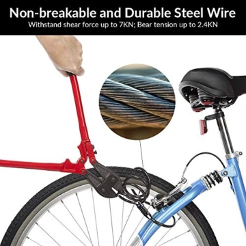HoLiv Fahrradschloss, Zahlenschloss mit Stahlkettenglieder Anti-Diebstahl Fahrradschloss mit LED Nachtlicht 4-stellig Zahlencode für Fahrrad und Motorrad 150cm / 12mm -