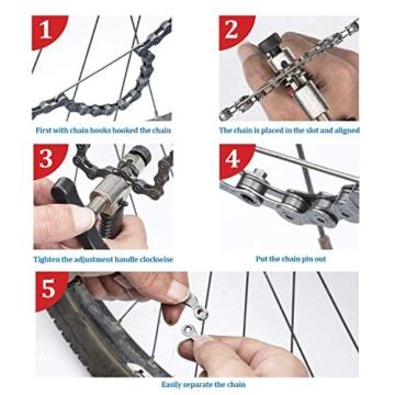 JIPRENS Fahrradkettenzange, Fahrrad Link Plier und Fahrrad Ketten Werkzeug+ Ketten Prüfer+3 Paar Fahrrad fehlt Link für 7 8 9 10 11 12 Kettenwerkzeug Fahrrad -