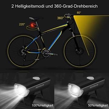 Abenteurer Fahrradlicht LED USB Set, Fahrradlampe Stvzo Zugelassen Vorne Fahrradbeleuchtung, Aufladbar Fahrradlichter Rücklicht Wiederaufladbare mit 2 Licht-Modi Fahrradlampensets - 2