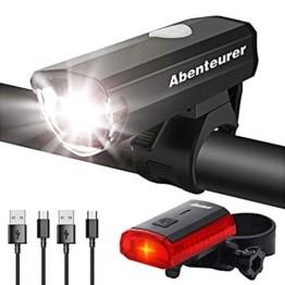 Abenteurer Fahrradlicht LED USB Set, Fahrradlampe Stvzo Zugelassen Vorne Fahrradbeleuchtung, Aufladbar Fahrradlichter Rücklicht Wiederaufladbare mit 2 Licht-Modi Fahrradlampensets - 1
