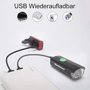 Abenteurer Fahrradlicht LED USB Set, Fahrradlampe Stvzo Zugelassen Vorne Fahrradbeleuchtung, Aufladbar Fahrradlichter Rücklicht Wiederaufladbare mit 2 Licht-Modi Fahrradlampensets - 5