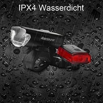Abenteurer Fahrradlicht LED USB Set, Fahrradlampe Stvzo Zugelassen Vorne Fahrradbeleuchtung, Aufladbar Fahrradlichter Rücklicht Wiederaufladbare mit 2 Licht-Modi Fahrradlampensets - 6