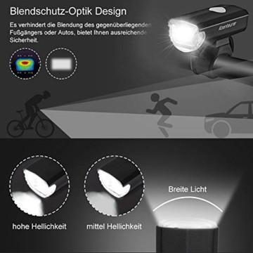 Abenteurer LED Fahrradlicht Set, LED Fahrradbeleuchtung StVZO Zugelassen USB Aufladbar Fahrradlampe Set, Wasserdicht Fahrradlicht Vorne Rücklicht Set Licht für Fahrrad 2 Licht-Modi Fahrrad Licht - 2