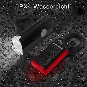 Abenteurer LED Fahrradlicht Set, LED Fahrradbeleuchtung StVZO Zugelassen USB Aufladbar Fahrradlampe Set, Wasserdicht Fahrradlicht Vorne Rücklicht Set Licht für Fahrrad 2 Licht-Modi Fahrrad Licht - 3