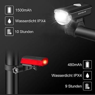Abenteurer LED Fahrradlicht Set, LED Fahrradbeleuchtung StVZO Zugelassen USB Aufladbar Fahrradlampe Set, Wasserdicht Fahrradlicht Vorne Rücklicht Set Licht für Fahrrad 2 Licht-Modi Fahrrad Licht - 4