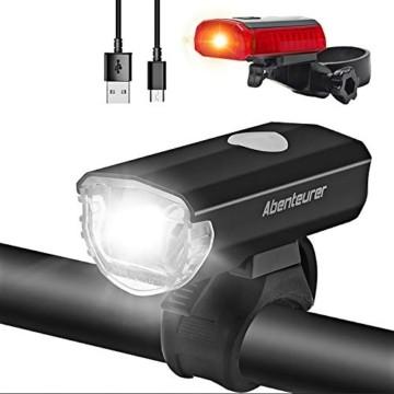 Abenteurer LED Fahrradlicht Set, LED Fahrradbeleuchtung StVZO Zugelassen USB Aufladbar Fahrradlampe Set, Wasserdicht Fahrradlicht Vorne Rücklicht Set Licht für Fahrrad 2 Licht-Modi Fahrrad Licht - 1