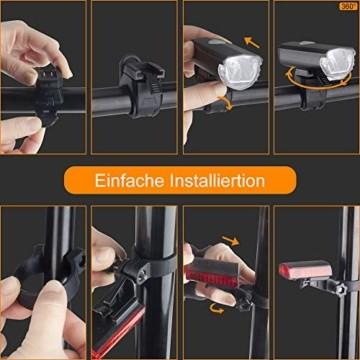 Abenteurer LED Fahrradlicht Set, LED Fahrradbeleuchtung StVZO Zugelassen USB Aufladbar Fahrradlampe Set, Wasserdicht Fahrradlicht Vorne Rücklicht Set Licht für Fahrrad 2 Licht-Modi Fahrrad Licht - 6