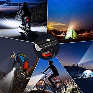 Abenteurer LED Fahrradlicht Set, LED Fahrradbeleuchtung StVZO Zugelassen USB Aufladbar Fahrradlampe Set, Wasserdicht Fahrradlicht Vorne Rücklicht Set Licht für Fahrrad 2 Licht-Modi Fahrrad Licht - 7