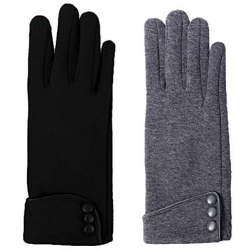 Aibrou Touchscreen Handschuhe Damen Winterhandschuhe Fahrradschuhe Frauen Handschuhe Winter Warm Handschuhe mit Fleecefutter - 3