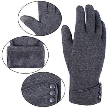Aibrou Touchscreen Handschuhe Damen Winterhandschuhe Fahrradschuhe Frauen Handschuhe Winter Warm Handschuhe mit Fleecefutter - 5