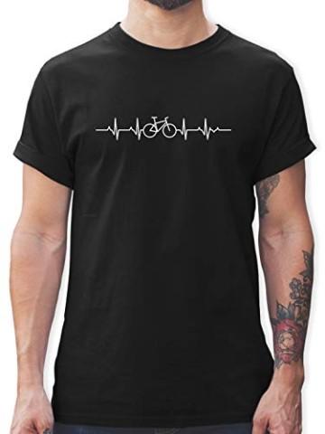 Andere Fahrzeuge - Herzschlag Fahrrad - L - Schwarz - Tshirt mit Fahrrad - L190 - Tshirt Herren und Männer T-Shirts - 1