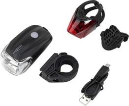 ANSMANN Fahrradlicht Set StVZO zugelassen - Akkubetrieben und aufladbar über USB, CREE LED, regensicher, einfache Montage, abnehmbar - Fahrradbeleuchtung bestehend aus Frontlicht & Rücklicht - 1