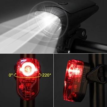 Antimi Akku Fahrradlicht Led Set Fahrradbeleuchtung USB Aufladbar StVZO Zugelassen USB Fahrradlampe Fahrradlichter mit 2 Licht-Modi - 2