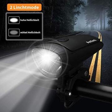 Antimi Akku Fahrradlicht Led Set Fahrradbeleuchtung USB Aufladbar StVZO Zugelassen USB Fahrradlampe Fahrradlichter mit 2 Licht-Modi - 3