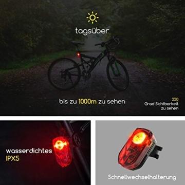 Antimi Akku Fahrradlicht Led Set Fahrradbeleuchtung USB Aufladbar StVZO Zugelassen USB Fahrradlampe Fahrradlichter mit 2 Licht-Modi - 4