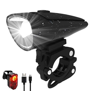 Antimi Akku Fahrradlicht Led Set Fahrradbeleuchtung USB Aufladbar StVZO Zugelassen USB Fahrradlampe Fahrradlichter mit 2 Licht-Modi - 1