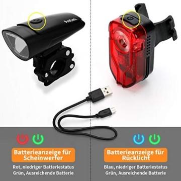 Antimi Akku Fahrradlicht Led Set Fahrradbeleuchtung USB Aufladbar StVZO Zugelassen USB Fahrradlampe Fahrradlichter mit 2 Licht-Modi - 6