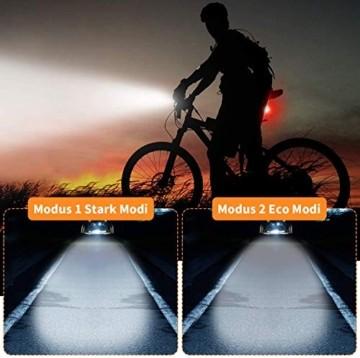 Antimi Fahrradlicht Led Set 2 Licht-Modi, Fahrradlichter Fahrradlampe StVZO Zugelassen Fahrradbeleuchtung LED Wasserdicht USB Aufladbar Fahrrad Licht - 3