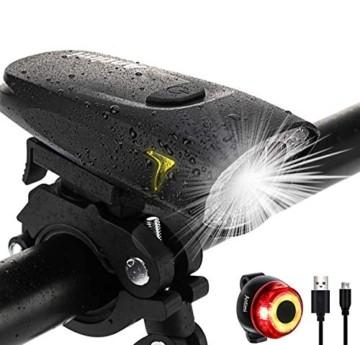 Antimi Fahrradlicht Led Set 2 Licht-Modi, Fahrradlichter Fahrradlampe StVZO Zugelassen Fahrradbeleuchtung LED Wasserdicht USB Aufladbar Fahrrad Licht - 1