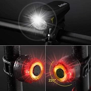 Antimi Fahrradlicht Led Set 2 Licht-Modi, Fahrradlichter Fahrradlampe StVZO Zugelassen Fahrradbeleuchtung LED Wasserdicht USB Aufladbar Fahrrad Licht - 6