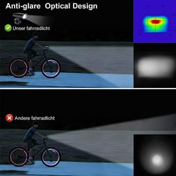 Antimi Fahrradlicht Set Wiederaufladbare, LED Fahrradlichter Fahrradlampe Set Vorne Fahrradbeleuchtung Wasserdicht mit Frontlicht Rücklicht StVZO - 4