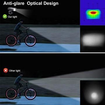 Antimi LED Fahrradlicht Set,StVZO Zugelassen USB Wiederaufladbar Fahrradbeleuchtung Set mit IPX5 Wasserdicht Frontlicht & Rücklichter,Fahrradlampe mit Samsung 2600mAh Li-ion Akku - 2
