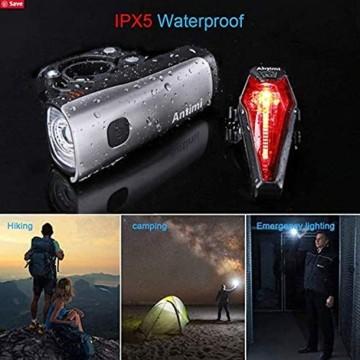 Antimi LED Fahrradlicht Set,StVZO Zugelassen USB Wiederaufladbar Fahrradbeleuchtung Set mit IPX5 Wasserdicht Frontlicht & Rücklichter,Fahrradlampe mit Samsung 2600mAh Li-ion Akku - 3