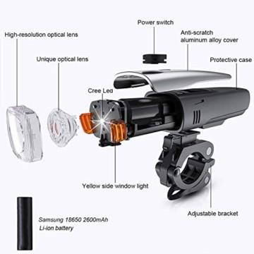 Antimi LED Fahrradlicht Set,StVZO Zugelassen USB Wiederaufladbar Fahrradbeleuchtung Set mit IPX5 Wasserdicht Frontlicht & Rücklichter,Fahrradlampe mit Samsung 2600mAh Li-ion Akku - 4