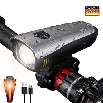 Antimi LED Fahrradlicht Set,StVZO Zugelassen USB Wiederaufladbar Fahrradbeleuchtung Set mit IPX5 Wasserdicht Frontlicht & Rücklichter,Fahrradlampe mit Samsung 2600mAh Li-ion Akku - 1