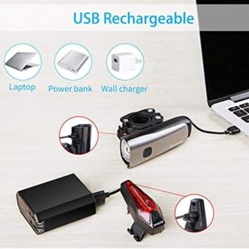 Antimi LED Fahrradlicht Set,StVZO Zugelassen USB Wiederaufladbar Fahrradbeleuchtung Set mit IPX5 Wasserdicht Frontlicht & Rücklichter,Fahrradlampe mit Samsung 2600mAh Li-ion Akku - 5