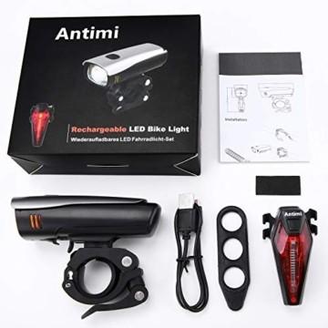 Antimi LED Fahrradlicht Set,StVZO Zugelassen USB Wiederaufladbar Fahrradbeleuchtung Set mit IPX5 Wasserdicht Frontlicht & Rücklichter,Fahrradlampe mit Samsung 2600mAh Li-ion Akku - 6