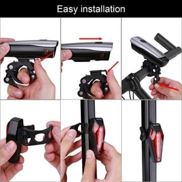 Antimi LED Fahrradlicht Set,StVZO Zugelassen USB Wiederaufladbar Fahrradbeleuchtung Set mit IPX5 Wasserdicht Frontlicht & Rücklichter,Fahrradlampe mit Samsung 2600mAh Li-ion Akku - 7