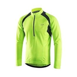 ARSUXEO Herren Hälfte Reißverschluss Radfahren Trikots Lange Ärmel MTB Fahrrad Hemden 6031 Grün L - 1