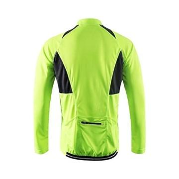 ARSUXEO Herren Hälfte Reißverschluss Radfahren Trikots Lange Ärmel MTB Fahrrad Hemden 6031 Grün L - 4