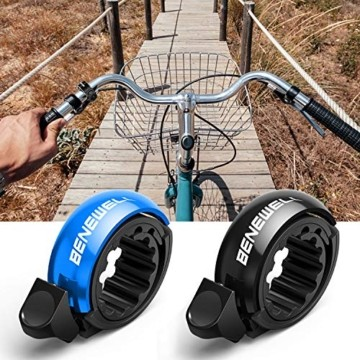 Benewell CL-7Fahrradklingel Fahrradglocke Radfahren, [2 Stück Schwarz+Blau] O Design Fahrradglocke, Fahrradhupe Klingel Glocke Hupe für Fahrrad, für 22.2-23mm Lenker - 7