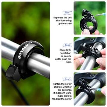 Benewell Fahrrad Klingel,Fahrradklingel Fahrradglocke für Alle Fahrräder für Lenker 22.2-31.8mm,schwarz. - 2