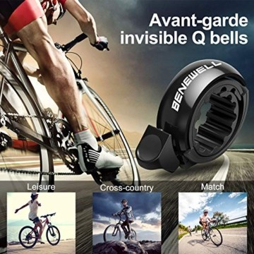 Benewell Fahrrad Klingel,Fahrradklingel Fahrradglocke für Alle Fahrräder für Lenker 22.2-31.8mm,schwarz. - 4