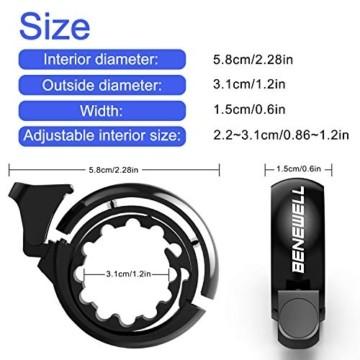 Benewell Fahrrad Klingel,Fahrradklingel Fahrradglocke für Alle Fahrräder für Lenker 22.2-31.8mm,schwarz. - 5