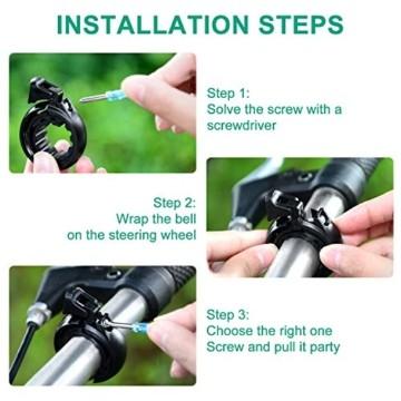 Benewell Fahrradklingel, größer Fahrradglocke für Alle Fahrrad Lenker, Q Bell Radfahren Fahrrad Glocke MTB Mountainbike Alarm Horn Ring, für 22.2-23mm Lenker (Schwarz) - 5