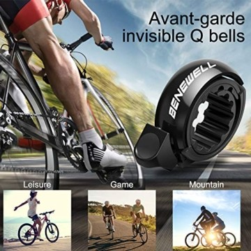 Benewell Fahrradklingel, größer Fahrradglocke für Alle Fahrrad Lenker, Q Bell Radfahren Fahrrad Glocke MTB Mountainbike Alarm Horn Ring, für 22.2-23mm Lenker (Schwarz) - 7