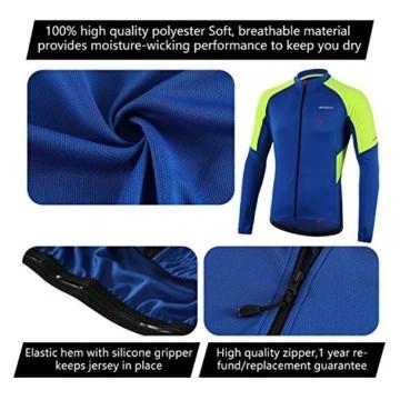 BERGRISAR Herren Basic Radtrikot Langarm Fahrrad Shirt Reißverschluss Taschen BG012 - Blau - X-Groß - 2