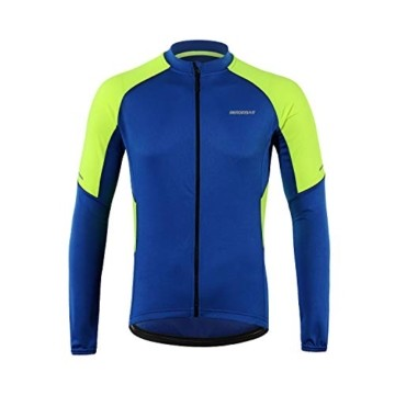 BERGRISAR Herren Basic Radtrikot Langarm Fahrrad Shirt Reißverschluss Taschen BG012 - Blau - X-Groß - 4